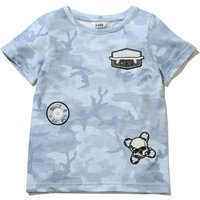 Kids Boys blue short sleeve skull and skateboard Badge Embroidered Camouflage print soft cotton blen