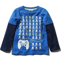 Kids Boys game on t-shirt with long layered sleeves  - Blue