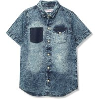 Kids Minoti boys Denim Shirt with Acid Wash Colour and Short Sleeves  - Denim