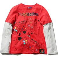 Kids PlayStation boys long sleeve double layer console gaming t-shirt  - Red