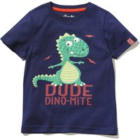 Kids Boys Dinosaur t-shirt with Dino-Mite wording  - Navy