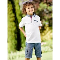 Kids Boys polo shirt with floral print collar and pocket trim  - White