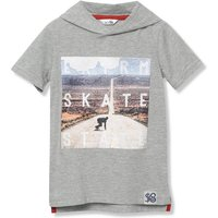 Kids Boys skate slogan t-shirt with short sleeves and a hood  - Grey Marl