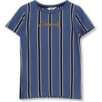 Kids Boys stripe t-shirt with short sleeves and an Elements embroidered slogan  - Blue