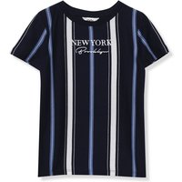 Kids Boys stripe t-shirt with short sleeves and a New York embroidered slogan  - Black