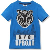 Kids Boys cotton short sleeve NYC print Tiger two way sequin t-shirt  - Blue