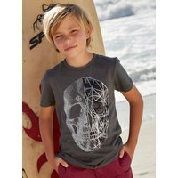 Kids Boys foil skull t-shirt with short sleeves  - Charcoal