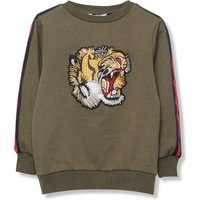 Kids Boys Tiger Sweatshirt Kids Embroidered Tiger Top with Sports Style Arm Stripes  - Khaki