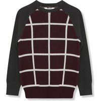 Kids Boys check jumper with long sleeves  - Plum