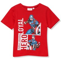 Kids Marvel Avengers print boys t-shirt in cotton with crew neck short sleeves  - Red
