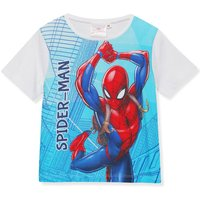 Kids Spiderman boys character print t-shirt blue white grey short sleeve crew neck cotton  - White
