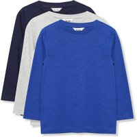 Kids Boys plain long sleeve crew neck t-shirts - three pack  - Cobalt