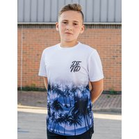 Kids DFND boys palm print t-shirt with short sleeves  - Blue