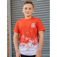 Kids DFND boys dip dye t-shirt with short sleeves  - Red