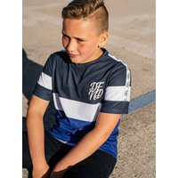 Kids DFND boys stripe t-shirt with short sleeves  - Navy