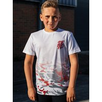 Kids DFND boys camo print t-shirt with short sleeves  - Red