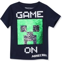 Kids Boys Minecraft two way sequin t-shirt with short sleeves  - Navy