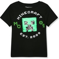 Kids Minecraft boys two way sequin t-shirt with short sleeves  - Black