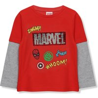 Kids Boys Marvel Avengers flip sequin long sleeve t-shirt  - Red