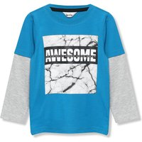 Kids Boys marble slogan t-shirt with long sleeves  - Teal