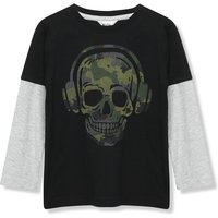 Kids Boys camo skull t-shirt  with long sleeves  - Black