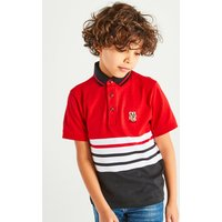 Kids Boys stripe polo shirt  - Red