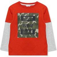 Kids Boys camo print squad goals slogan t-shirt  - Terracotta