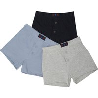 Boys Loose Fit Cotton Jersey Button Front Classic Style White Grey And Black Boxer Shorts - Multicolour