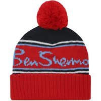 Ben Sherman Boys Red And Navy Colour Block Logo Stripe Ribbed Turn-up Bobble Beanie Hat - Multicolour