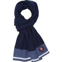 Ben Sherman Boys Rib Knit Colour Block Design Striped Edge Mini Target Branding Scarf - Blue