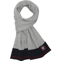 Ben Sherman Boys Rib Knit Colour Block Design Striped Edge Mini Target Branding Scarf - Grey