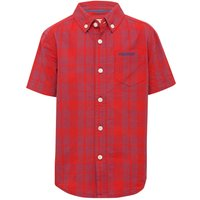 Firetrap boys 100% cotton short sleeve red blue check pattern embroidered logo chest pocket shirt  -