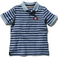 Ben Sherman boys 100% cotton short sleeve stripe pattern embroidered target logo polo shirt  - Blue