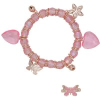 Girls Pink Beaded Butterfly Heart Bell Charm Bracelet And Matching Ring Jewellery Set - Pink