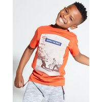 Kids Boys t-shirt with skater slogan print  - Red
