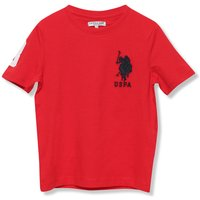 Kids boys US Polo Association red short sleeve embroidered chest logo and 3 sporty casual cotton tsh