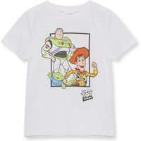 Kids Toy Story boys white character print t-shirt with crew neck short sleeves 100% cotton  - White