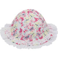 Baby girl 100% cotton pink and lemon butterfly print broderie anglaise frill sun hat  - Multicolour