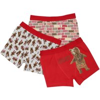 Boys cotton rich stretch red bear slogan print elasticated waistband trunks three pack  - Multicolou