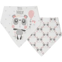 Baby girl cotton rich panda character print bandana style dribble bibs two pack  - Multicolour