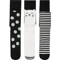 Girls cotton rich black and white cat face stripe and spot style knitted tights three pack  - Black