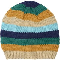 Baby boy multi-coloured stripe pattern knitted beanie hat  - Multicolour