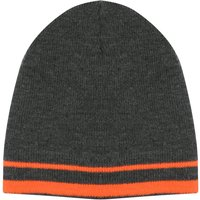 Thinsulate boys grey knitted beanie hat with bright Tangerine stripe edge  - Grey
