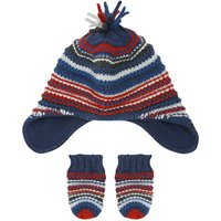 Baby boy navy and red texture stripe knit fleece lined trapper hat and mitts set  - Multicolour