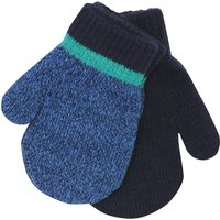 Baby boy blue marl and plain navy ribbed trim magic mitts two pack  - Navy