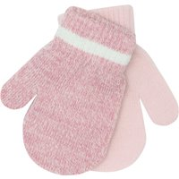 Baby girl light pink marl and plain ribbed trim magic mitts two pack  - Pink