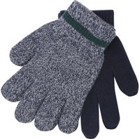 Boys navy marl and plain ribbed trim magic gloves two pack  - Navy