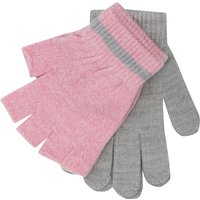 Girls stretch knit grey finger gloves and pink fingerless mitt gloves two pack  - Multicolour