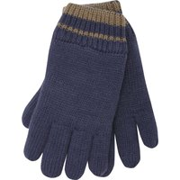 Boys Thinsulate Thermal Lining Navy With Brown Stripe Ribbed Trim Gloves - Navy