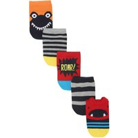 Baby Boy cotton rich assorted monster stripe design trainer socks five pack  - Multicolour